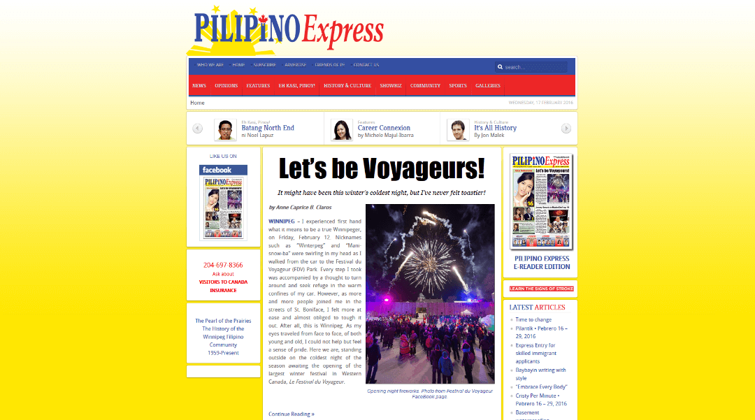 winnipeg web design of Pilipino Express